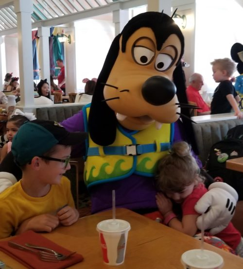 Our kids Hayden and Brylee with Goofy at Cape May Cafe